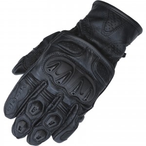 The Black Track Short Leather Motorcycle Gloves