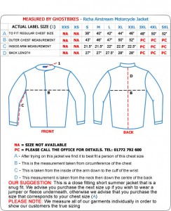 Richa-Airstream-Motorcycle-Jacket-Size-Guide