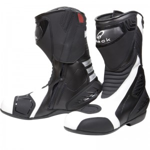 Black-Strike-Waterproof-Motorcycle-Boot-White-1
