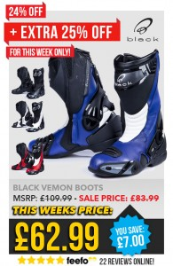 DEALS WEEK – EXTRA 25% OFF BLACK VENOM BOOTS usually £83.99 now £62.99